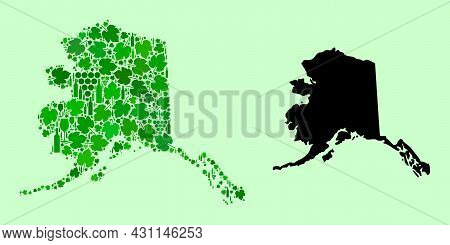Vector Map Of Alaska State. Collage Of Green Grape Leaves, Wine Bottles. Map Of Alaska State Collage