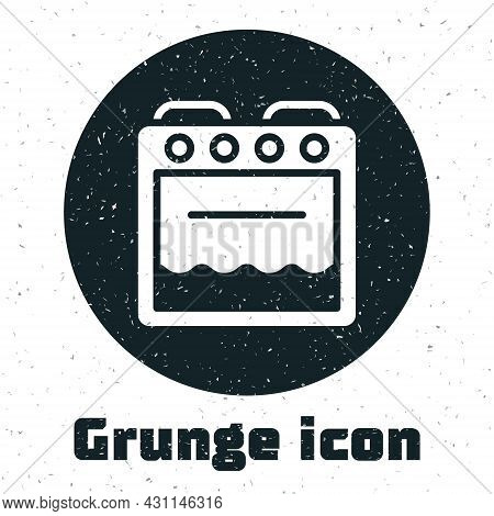 Grunge Oven Icon Isolated On White Background. Stove Gas Oven Sign. Monochrome Vintage Drawing. Vect
