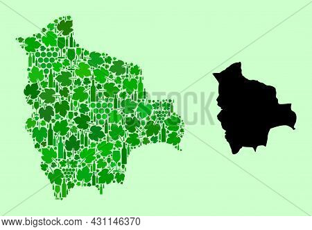 Vector Map Of Bolivia. Mosaic Of Green Grapes, Wine Bottles. Map Of Bolivia Mosaic Formed With Bottl