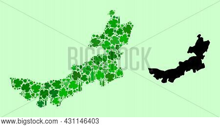 Vector Map Of Inner Mongolia. Mosaic Of Green Grape Leaves, Wine Bottles. Map Of Inner Mongolia Mosa