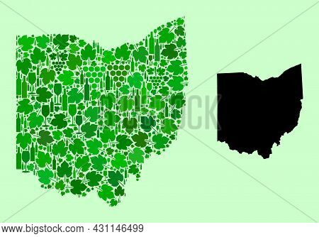 Vector Map Of Ohio State. Mosaic Of Green Grape Leaves, Wine Bottles. Map Of Ohio State Mosaic Forme