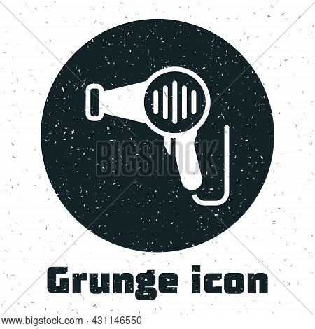 Grunge Hair Dryer Icon Isolated On White Background. Hairdryer Sign. Hair Drying Symbol. Blowing Hot