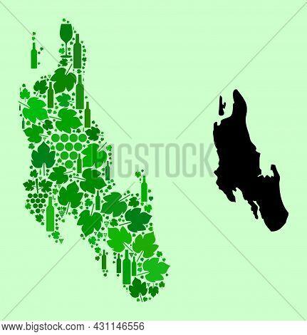 Vector Map Of Zanzibar Island. Mosaic Of Green Grapes, Wine Bottles. Map Of Zanzibar Island Mosaic D