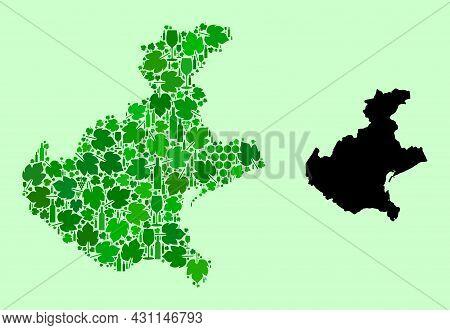 Vector Map Of Veneto Region. Mosaic Of Green Grape Leaves, Wine Bottles. Map Of Veneto Region Mosaic