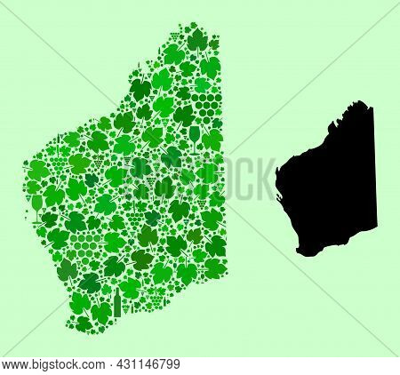 Vector Map Of Western Australia. Collage Of Green Grapes, Wine Bottles. Map Of Western Australia Col