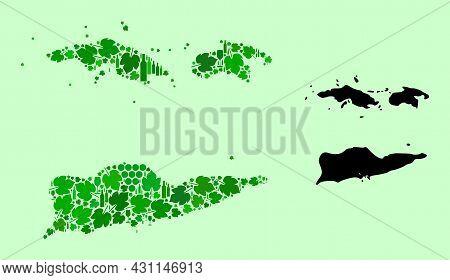 Vector Map Of American Virgin Islands. Mosaic Of Green Grape Leaves, Wine Bottles. Map Of American V