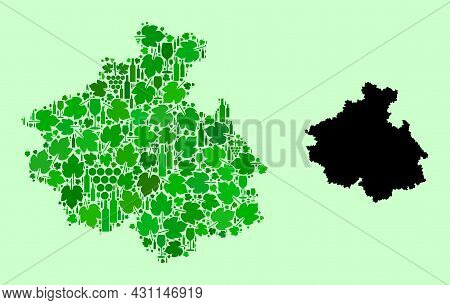 Vector Map Of Altai Republic. Mosaic Of Green Grape Leaves, Wine Bottles. Map Of Altai Republic Coll