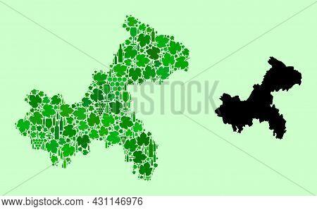 Vector Map Of Chongqing Municipality. Mosaic Of Green Grape Leaves, Wine Bottles. Map Of Chongqing M
