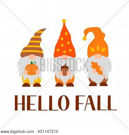 Autumn Gnomes. Hello Fall Lettering. Cute Cartoon Characters. Vector Template For Banner, Poster, Gr