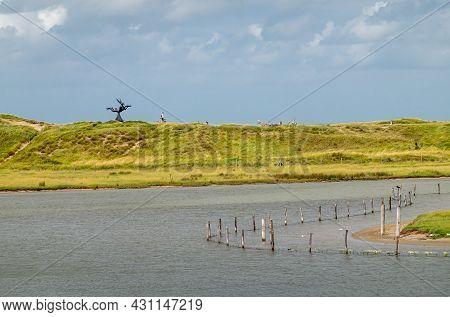 Knokke-heist, Flanders, Belgium - August 6, 2021: Zwin Nature Reserve. Black Keun Statue On Green Du