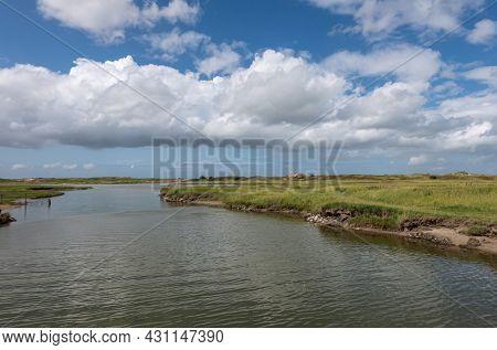 Knokke-heist, Flanders, Belgium - August 6, 2021: Zwin Nature Reserve. Backbone Salt Water Creek In