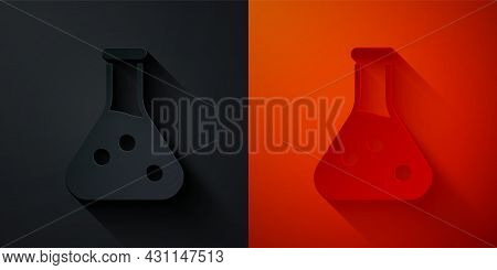 Paper Cut Test Tube And Flask Chemical Laboratory Test Icon Isolated On Black And Red Background. La