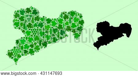 Vector Map Of Saxony State. Mosaic Of Green Grapes, Wine Bottles. Map Of Saxony State Mosaic Compose