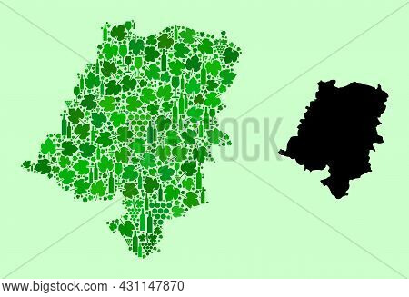 Vector Map Of Opole Province. Mosaic Of Green Grape Leaves, Wine Bottles. Map Of Opole Province Coll