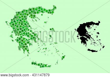 Vector Map Of Greece. Collage Of Green Grape Leaves, Wine Bottles. Map Of Greece Collage Created Fro