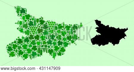 Vector Map Of Bihar State. Collage Of Green Grapes, Wine Bottles. Map Of Bihar State Collage Designe