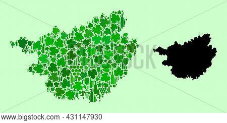 Vector Map Of Guangxi Zhuang Region. Mosaic Of Green Grapes, Wine Bottles. Map Of Guangxi Zhuang Reg