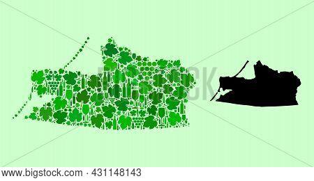 Vector Map Of Kaliningrad Region. Mosaic Of Green Grapes, Wine Bottles. Map Of Kaliningrad Region Mo