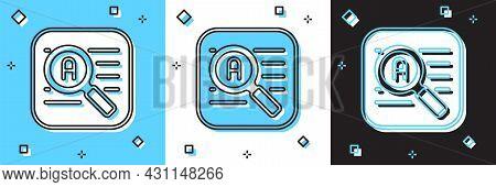 Set Translator Icon Isolated On Blue And White, Black Background. Foreign Language Conversation Icon