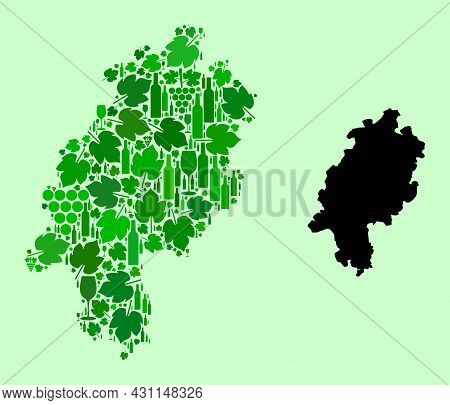 Vector Map Of Hesse State. Mosaic Of Green Grapes, Wine Bottles. Map Of Hesse State Mosaic Created W