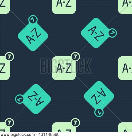 Green And Beige Online Translator Icon Isolated Seamless Pattern On Blue Background. Foreign Languag