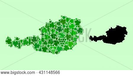Vector Map Of Austria. Collage Of Green Grape Leaves, Wine Bottles. Map Of Austria Mosaic Designed W
