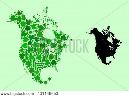 Vector Map Of North America. Mosaic Of Green Grape Leaves, Wine Bottles. Map Of North America Mosaic