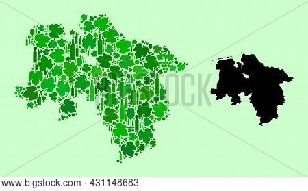 Vector Map Of Lower Saxony State. Mosaic Of Green Grape Leaves, Wine Bottles. Map Of Lower Saxony St