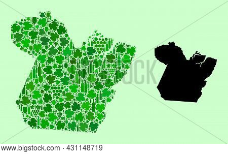 Vector Map Of Paral State. Mosaic Of Green Grapes, Wine Bottles. Map Of Paral State Mosaic Formed Fr