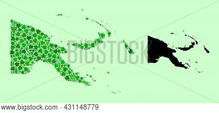 Vector Map Of Papua New Guinea. Mosaic Of Green Grape Leaves, Wine Bottles. Map Of Papua New Guinea