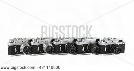 Moscow, Russia, August 28, 2021. Evolution Rare Old Soviet Rangefinder Camera Zorki 4, Produced From
