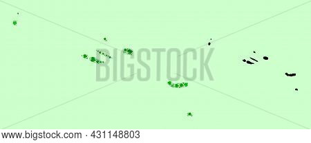 Vector Map Of Azores Islands. Collage Of Green Grape Leaves, Wine Bottles. Map Of Azores Islands Col