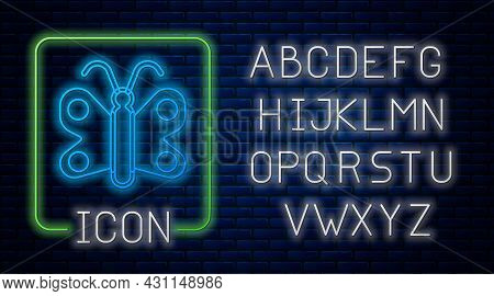 Glowing Neon Butterfly Icon Isolated On Brick Wall Background. Neon Light Alphabet. Vector