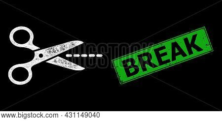 Glowing Net Scissors Line Frame With Light Dots, And Green Rectangle Scratched Break Seal. Constella