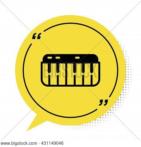 Black Music Synthesizer Icon Isolated On White Background. Electronic Piano. Yellow Speech Bubble Sy
