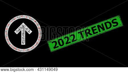 Glowing Net Mesh Up Orientation Wireframe With Light Dots, And Green Rectangular Dirty 2022 Trends S