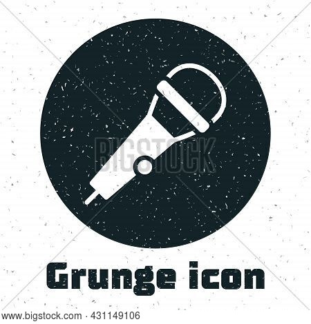 Grunge Microphone Icon Isolated On White Background. On Air Radio Mic Microphone. Speaker Sign. Mono