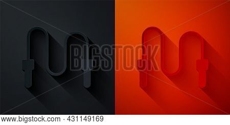 Paper Cut Jump Rope Icon Isolated On Black And Red Background. Skipping Rope. Sport Equipment. Paper