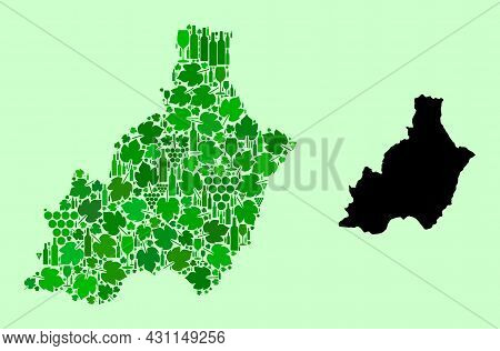 Vector Map Of Almeria Province. Mosaic Of Green Grape Leaves, Wine Bottles. Map Of Almeria Province