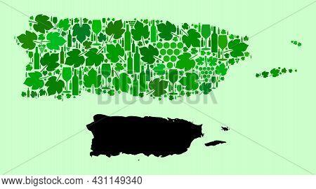 Vector Map Of Puerto Rico. Mosaic Of Green Grapes, Wine Bottles. Map Of Puerto Rico Mosaic Created F