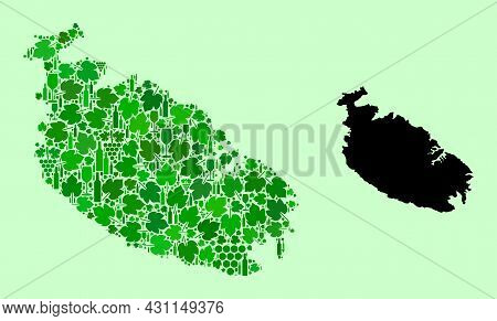 Vector Map Of Malta Island. Collage Of Green Grape Leaves, Wine Bottles. Map Of Malta Island Collage