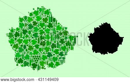 Vector Map Of Cuenca Province. Mosaic Of Green Grape Leaves, Wine Bottles. Map Of Cuenca Province Mo