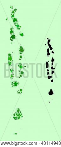 Vector Map Of Maldives. Collage Of Green Grape Leaves, Wine Bottles. Map Of Maldives Collage Designe