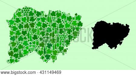 Vector Map Of Salamanca Province. Collage Of Green Grape Leaves, Wine Bottles. Map Of Salamanca Prov