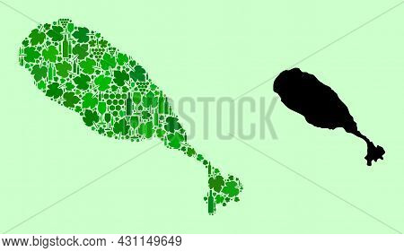 Vector Map Of St Kitts Island. Mosaic Of Green Grapes, Wine Bottles. Map Of St Kitts Island Collage