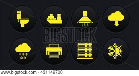 Set Cloud With Snow, Download, Printer, Server, Data, Web Hosting, Kitchen Extractor Fan And Cargo S