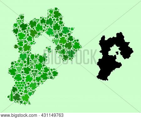 Vector Map Of Hebei Province. Mosaic Of Green Grapes, Wine Bottles. Map Of Hebei Province Mosaic Cre
