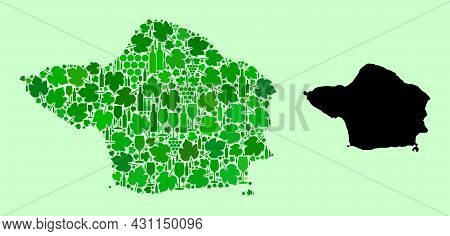 Vector Map Of Faial Island. Collage Of Green Grape Leaves, Wine Bottles. Map Of Faial Island Collage