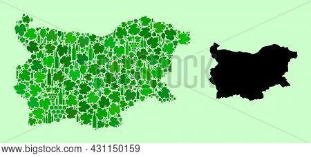 Vector Map Of Bulgaria. Mosaic Of Green Grape Leaves, Wine Bottles. Map Of Bulgaria Collage Designed