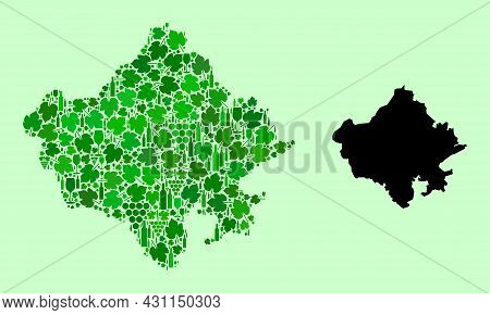 Vector Map Of Rajasthan State. Mosaic Of Green Grapes, Wine Bottles. Map Of Rajasthan State Mosaic D